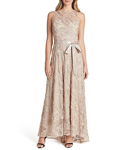 Tahari ASL Embroidered Tie Waist Soutache Lace Gown