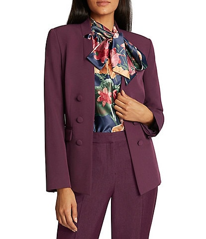Tahari ASL Faux Double Breasted Notch Collar Hook Front Jacket
