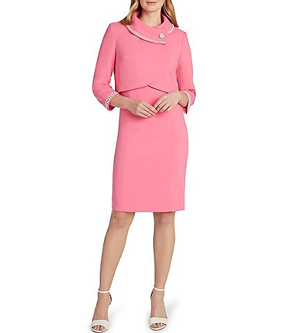 Tahari ASL Faux Pearl Trim Envelope Collar Jacket 2-Piece Dress Suit