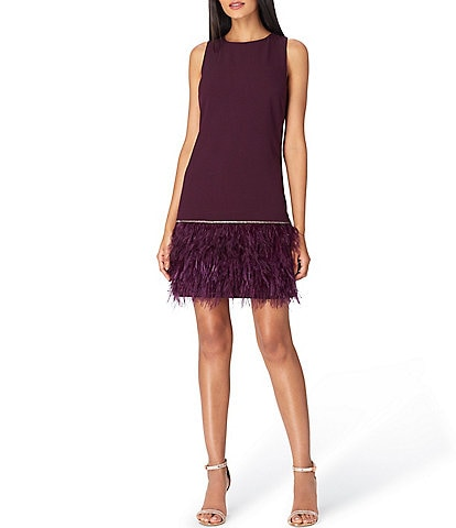 Tahari ASL Feather Trim Sleeveless Stretch Scuba Shift Dress