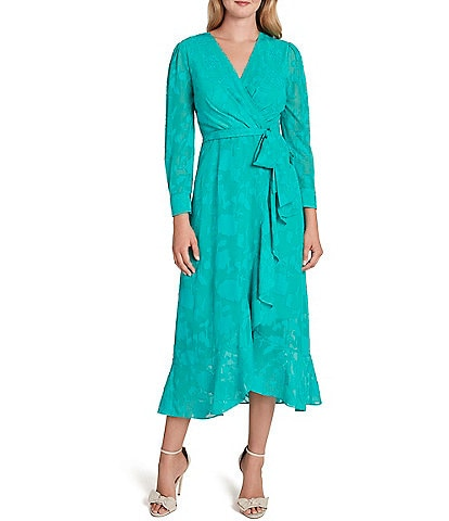 Tahari ASL Floral Burnout Faux Wrap Long Sleeve Ruffle Front Midi Dress