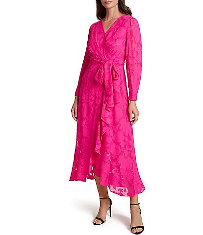 Tahari ASL Floral Burnout Faux Wrap Long Sleeve Ruffle Front Midi Dress