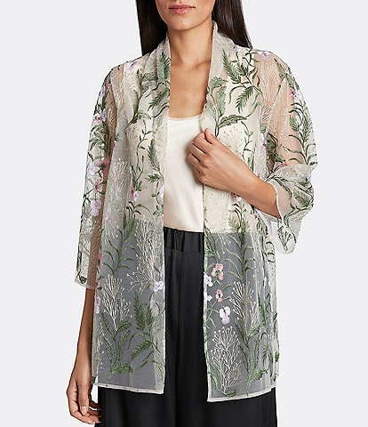 Tahari ASL Floral Embroidered Mesh Cardigan and Satin Camisole 2-Piece Twin Set