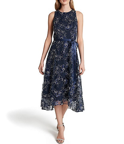 Tahari ASL Floral Embroidered Mesh Satin Ribbon Tie Waist Midi Dress
