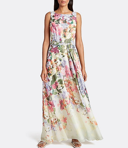 Tahari ASL Floral Foiled Chiffon Sleeveless Dress