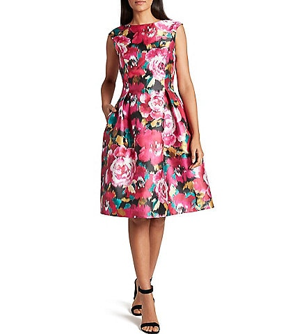 Tahari ASL Floral Mikado Boat Neck Fit & Flare Dress