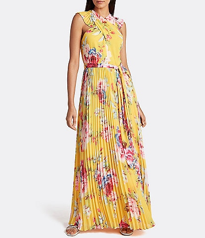 Tahari ASL Floral Pleated Maxi Dress