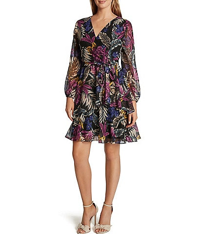 Tahari ASL Floral Print Chiffon Tiered Faux Wrap Dress