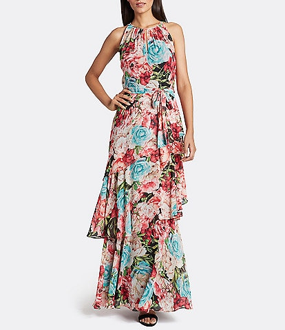 Tahari ASL Floral Print Chiffon Tiered Maxi Dress