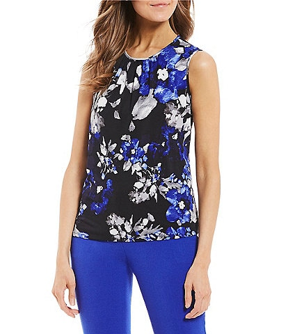 Tahari ASL Floral Ruched Sleeveless Top