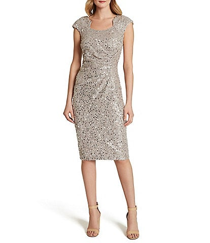 Tahari ASL Floral Sequin Lace Sheath Dress