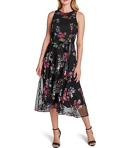 Tahari ASL Floral Sequined Lace Cutaway Shoulder Tie Waist Midi Dress