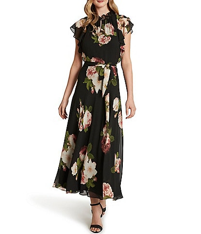 Tahari ASL Flutter Sleeve Rose Printed Chiffon Dress