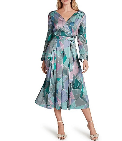 Tahari ASL Geo Print Scarf Twill Faux Wrap Midi Dress