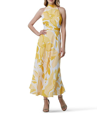 Tahari ASL Halter Neck Printed Maxi Dress