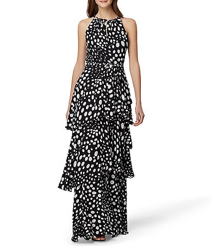 Tahari ASL Halter Neck Ruffle Tiered Maxi Dress