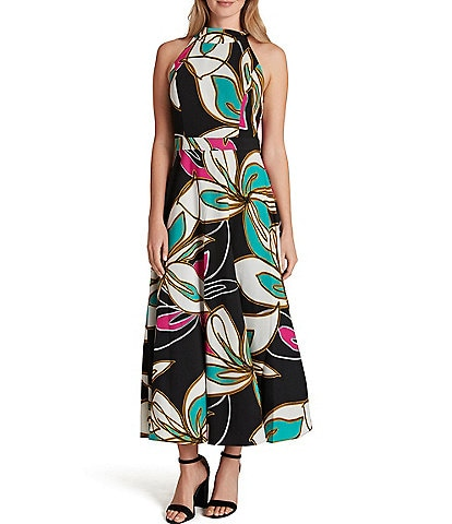 Tahari ASL Halter Neck Tie Detail Floral Print Crepe De Chine Fit & Flare Midi Dress
