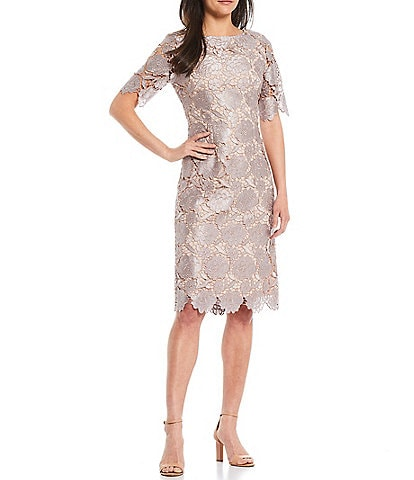 Tahari ASL Illusion Lace Jewel Neck Short Sleeve Sheath Dress