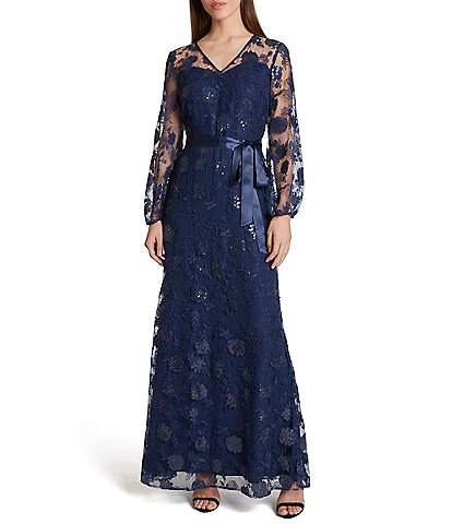 Tahari ASL Illusion Sleeve V-Neck Embroidered Mesh Column Gown