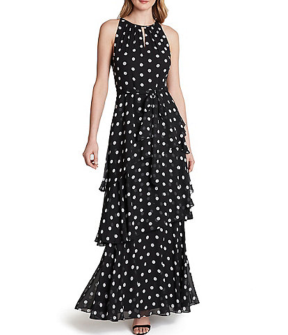 Tahari ASL Keyhole Neck Dot Chiffon Tiered Maxi Dress