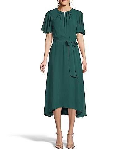 Tahari ASL Keyhole Short Flutter Sleeve Tie Waist Midi Chiffon Hi-Low Dress