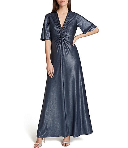 Tahari ASL Knit Jersey Foil Knot Front Elbow Sleeve A-Line Gown