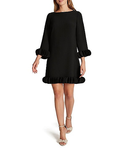 Tahari ASL Laser Cut Ruffle Hem Long Sleeve Stretch Crepe Shift Dress
