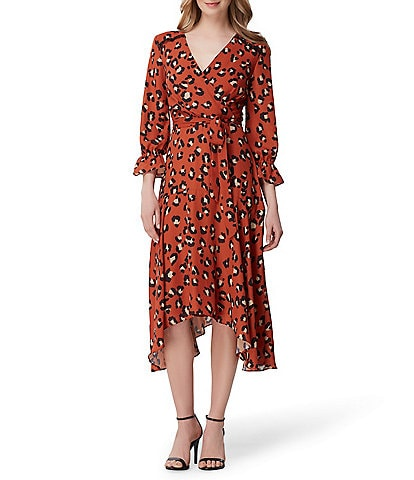 Tahari ASL Leopard Print Peasant Sleeve Faux Wrap Midi Dress