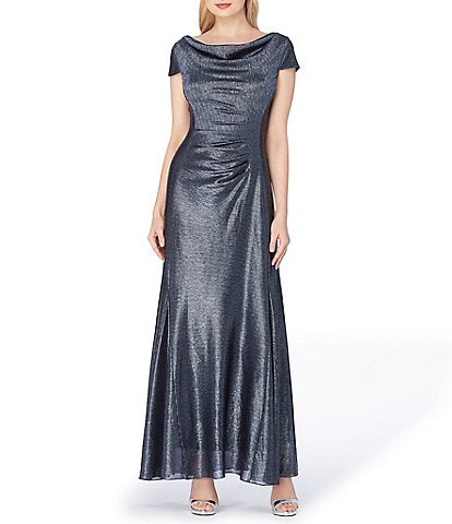 Tahari ASL Long Cap-Sleeve Metallic Knit Gown