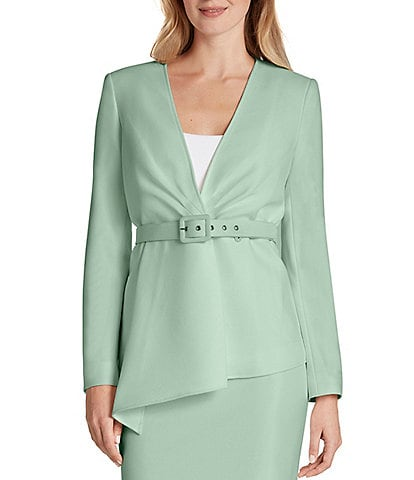 Tahari ASL Long Sleeve Asymmetrical Belted Crepe Jacket