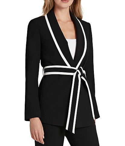Tahari ASL Long Sleeve Belted Pebble Crepe Tie Waist Jacket