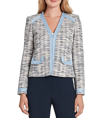 Tahari ASL Long Sleeve Knit Boucle Fringe Cardigan Jacket