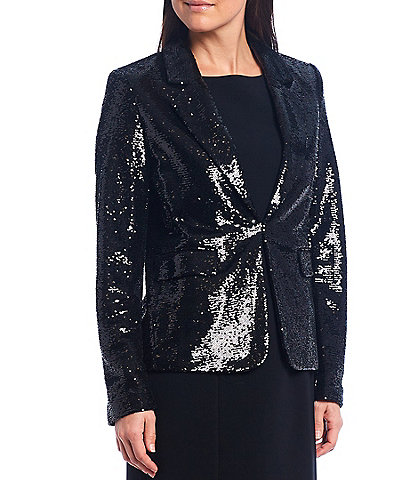 Tahari ASL Long Sleeve Notch Lapel Sequined Blazer