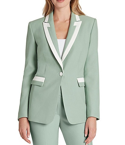 Tahari ASL Long Sleeve One Button Crepe Twill Jacket