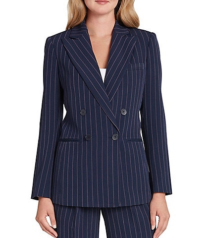 Tahari ASL Long Sleeve Pinstripe Crepe Double Breasted Jacket