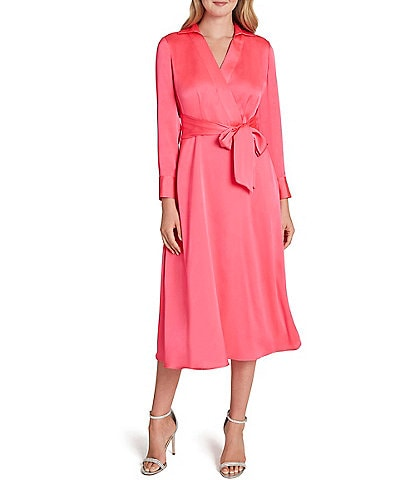 Tahari ASL Long Sleeve Satin Midi Shirt Dress