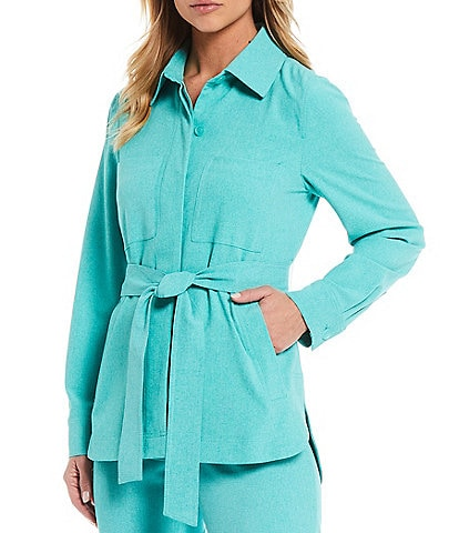 Tahari ASL Long Sleeve Tie Waist Shirt Jacket