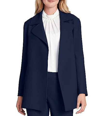 Tahari ASL Long Sleeve Twill Open Front Topper