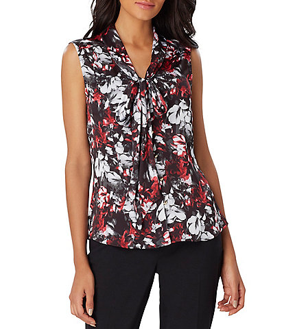 Tahari ASL Low Bow V-Neck Floral Print Top