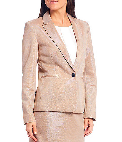 Tahari ASL Lurex Mesh One Button Notch Lapel Jacket