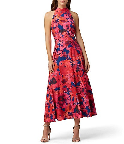 Tahari ASL Mock Neck Floral Print Chiffon Midi Dress
