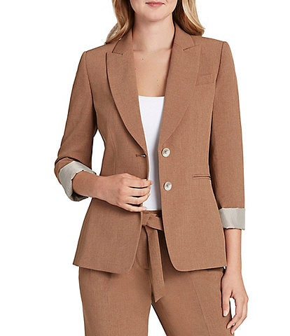 Tahari ASL Notch Lapel Rolled 3/4 Sleeve 2-Button Jacket