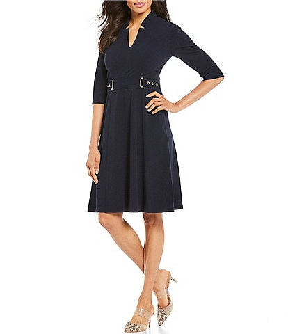Tahari ASL Notch Neck Belted Waist Crepe A-Line Dress