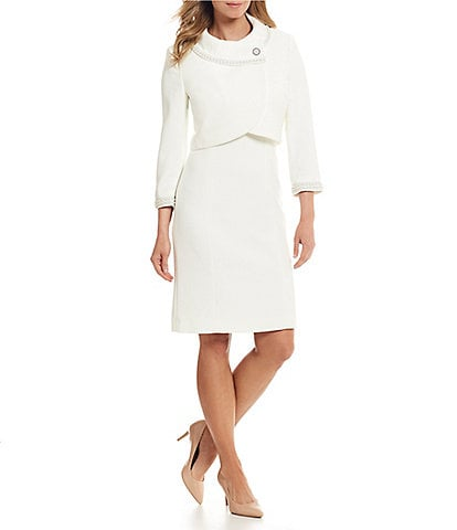 Tahari ASL Pearl Detail Crop Jacket Dress Suit