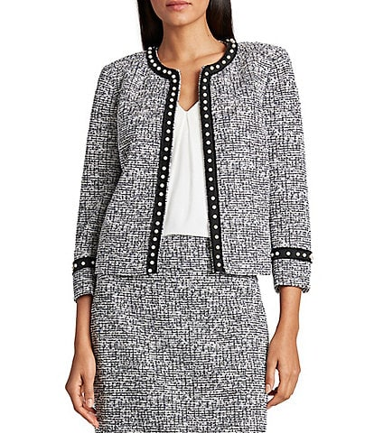 Tahari ASL Pearl Fringed Trim Cropped Lurex Tweed Knit Jacket