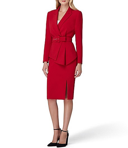 Tahari ASL Pebble Crepe Asymmetric Pleat Hem Belted Jacket 2-Piece Skirt Suit