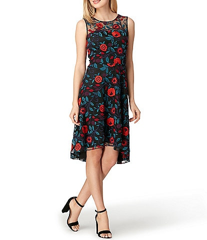 Tahari ASL Petite Embroidered Mesh A-Line Illusion Neck Sleeveless Hi-Low Dress