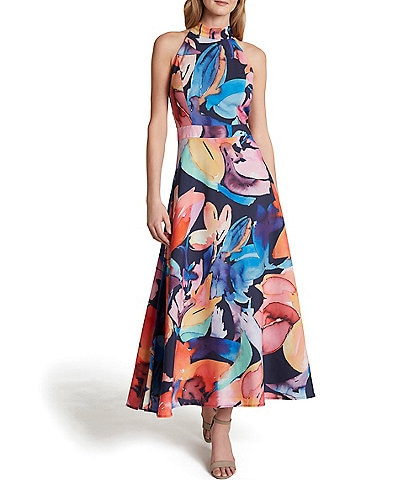 Tahari ASL Petite Size Abstract Floral Printed Mock Neck Crepe De Chine Midi Dress
