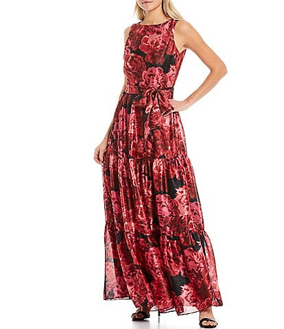 Tahari ASL Petite Size Floral Print Satin Sleeveless Tie Waist Tiered A-Line Gown