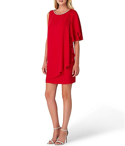 Tahari ASL Petite Size Flutter Hem Shift Dress